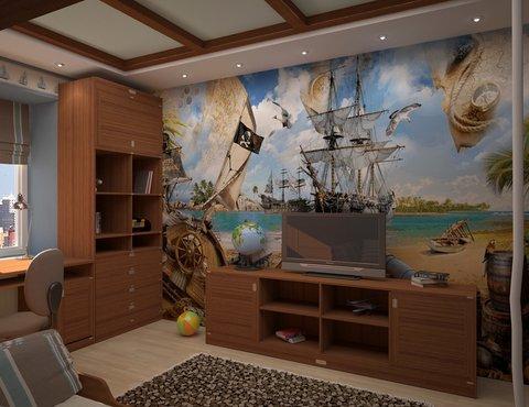 морской стиль, дизайн интерьера, дизайн детской, дизайн-проект детской, Детская, интерьер детской комнаты, детская в морском стиле