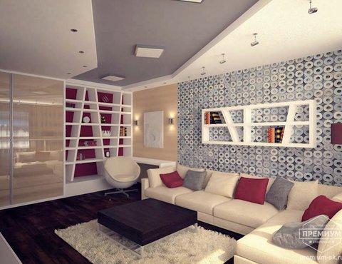 хай-тек, дизайн - проект гостиной, интерьер квартиры, гостиная интерьер
