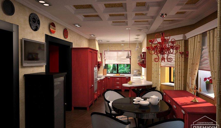 Дизайн интерьера первого этажа коттеджа Красное золото 9
