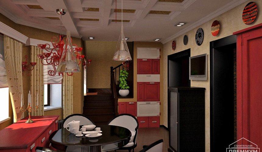 Дизайн интерьера первого этажа коттеджа Красное золото 10