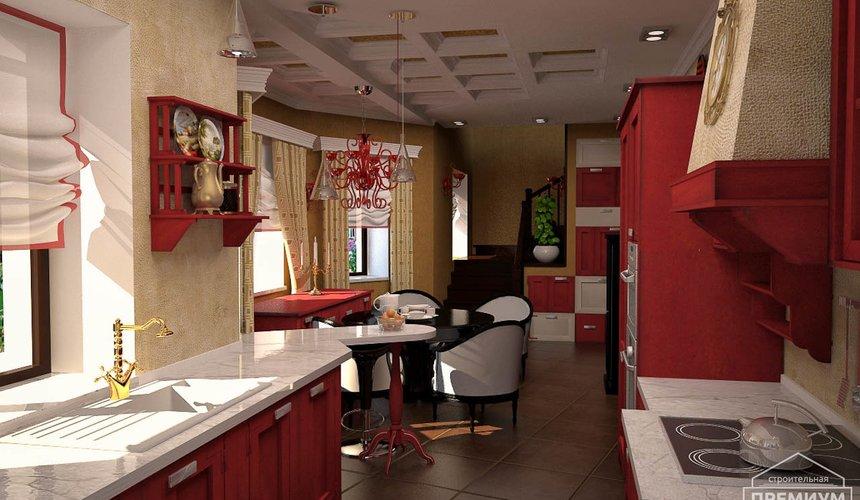 Дизайн интерьера первого этажа коттеджа Красное золото 13