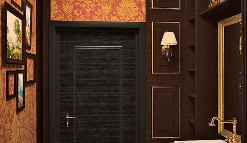 Дизайн интерьера первого этажа коттеджа Красное золото 17
