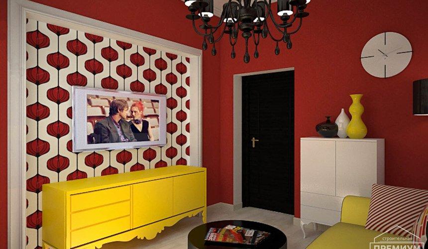 Дизайн интерьера первого этажа коттеджа Красное золото 25