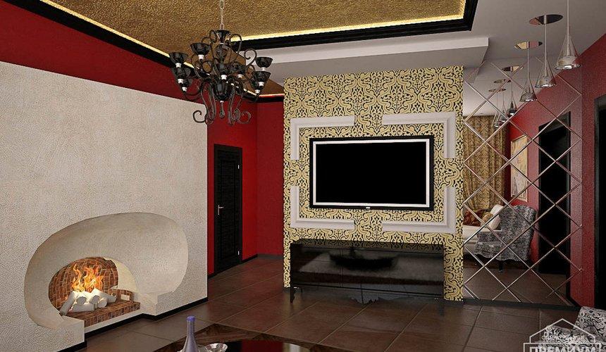 Дизайн интерьера первого этажа коттеджа Красное золото 5