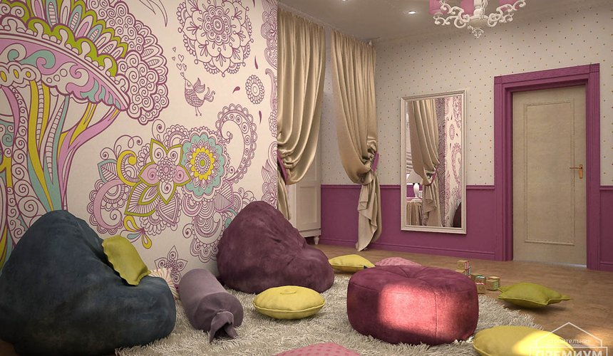 Дизайн интерьера второго этажа коттеджа Сахар 22