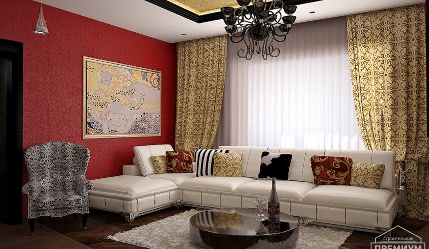 Дизайн интерьера первого этажа коттеджа Красное золото 4