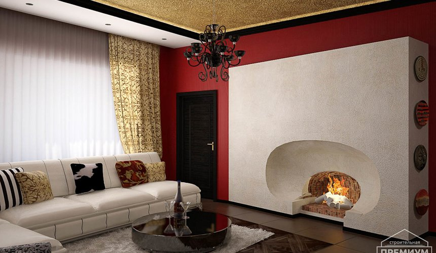 Дизайн интерьера первого этажа коттеджа Красное золото 6