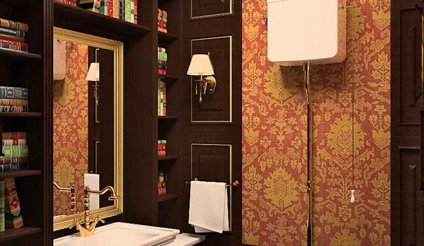 Дизайн интерьера первого этажа коттеджа Красное золото 15