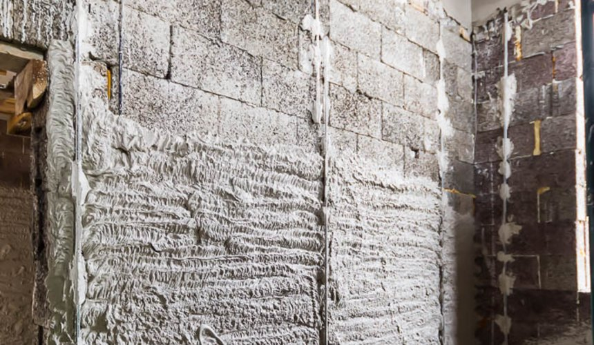 Механизированная штукатурка стен в коттедже 250 кв.м., п. Кашино 37