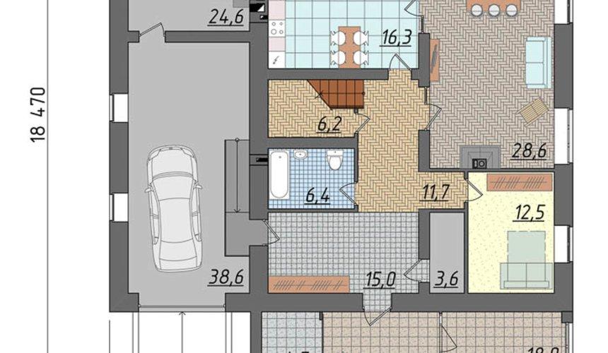Индивидуальный проект коттеджа 290 м2 в г. Сургут 4