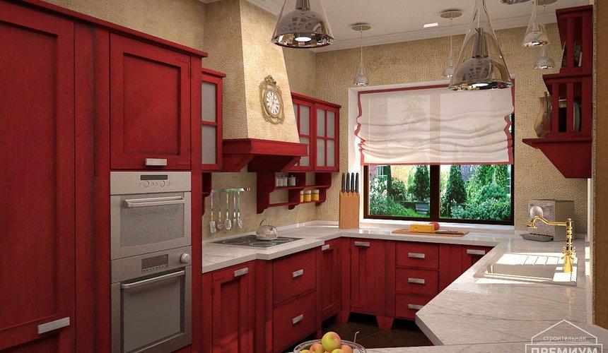 Дизайн интерьера первого этажа коттеджа Красное золото 12
