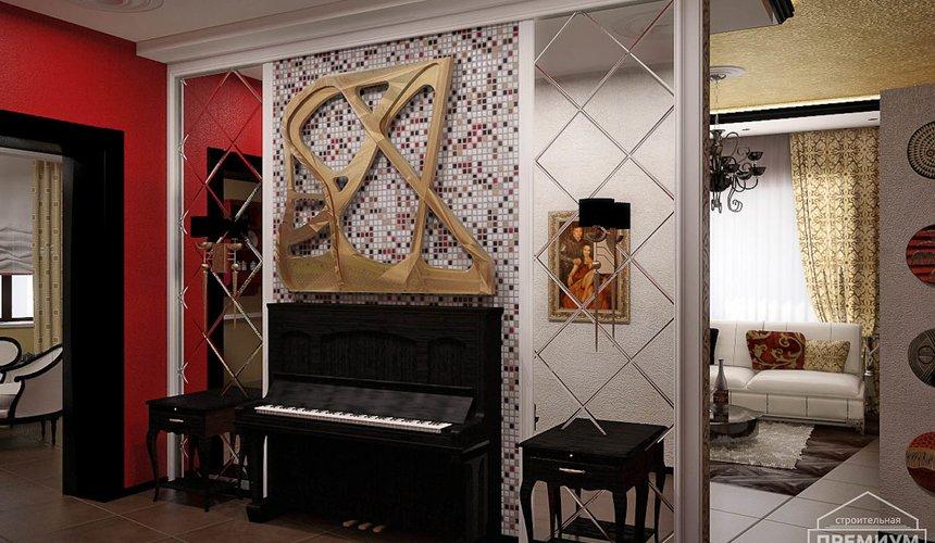 Дизайн интерьера первого этажа коттеджа Красное золото 3