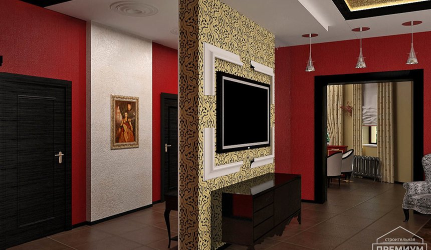 Дизайн интерьера первого этажа коттеджа Красное золото 7