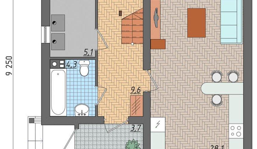 Индивидуальный проект частного дома 100 м2 в Щелкун 4